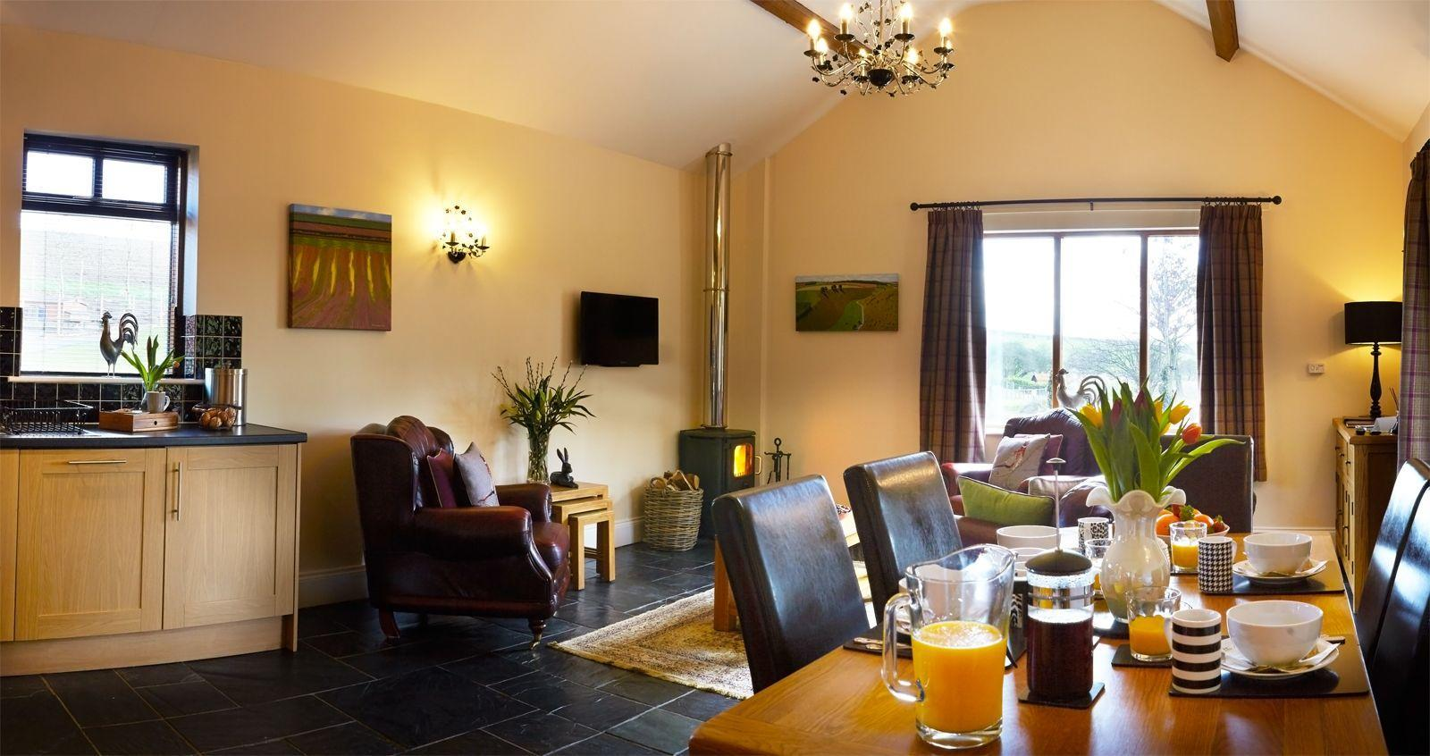 Open plan living area in Merry Dale Cottage