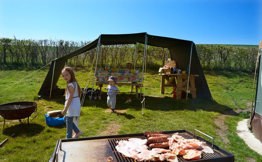 All 4 yurts come with their own outdoor canopy area…