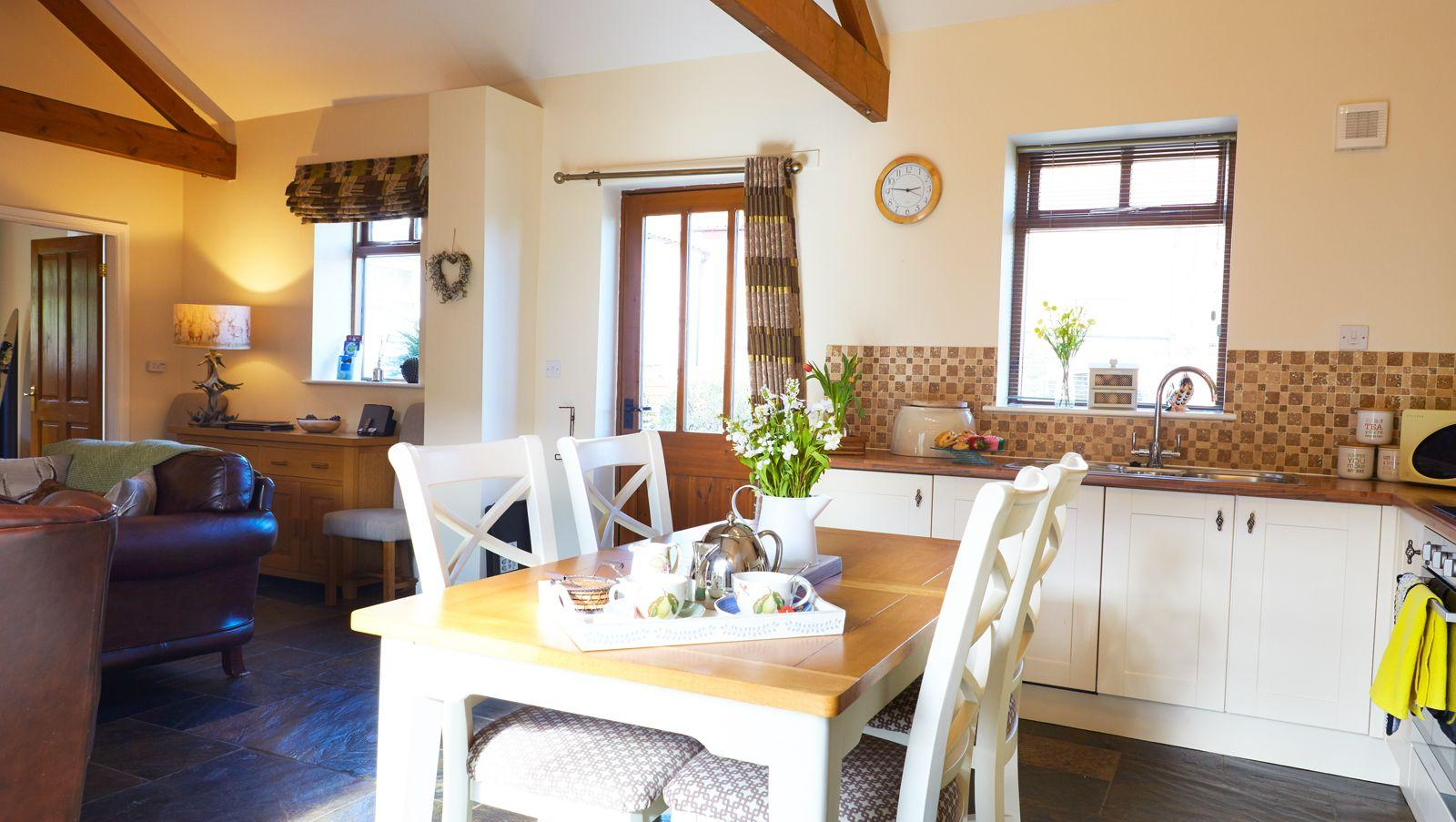 Open plan kitchen/dining room in Swallows Nest Cottage