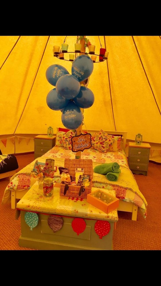Celebration package available in Bell Tents* for that special occasion!