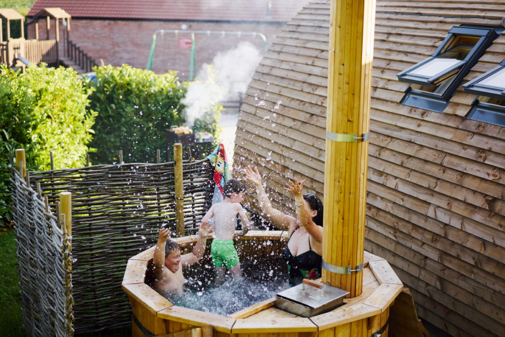 Have fun in the hot tubs with our Deluxe Wigwams!