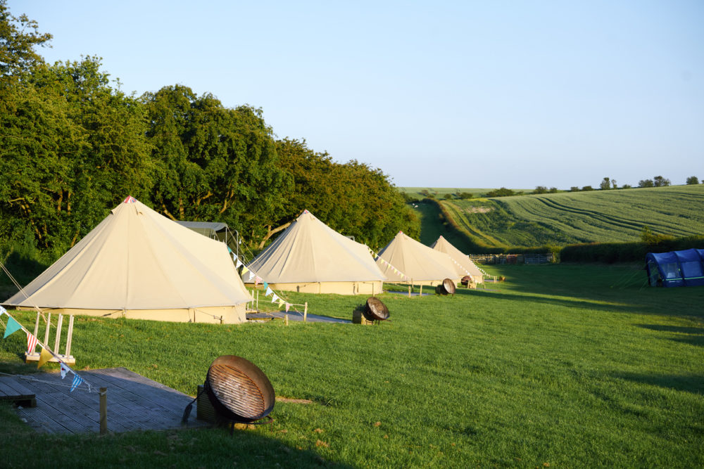 Bell Tents looking down the dale!