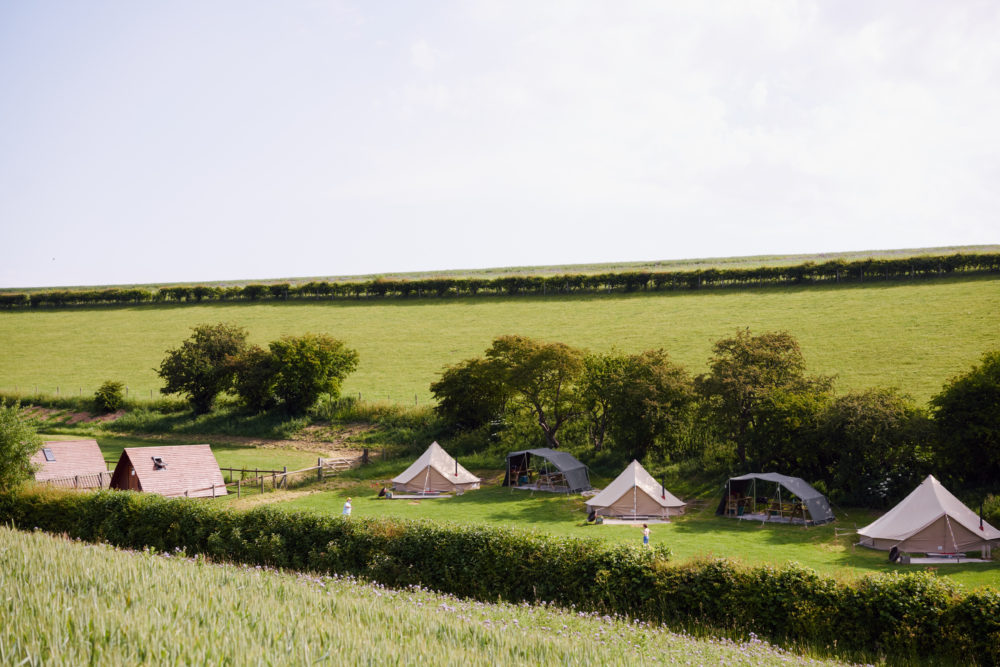 View of 3 of the Bell tents!