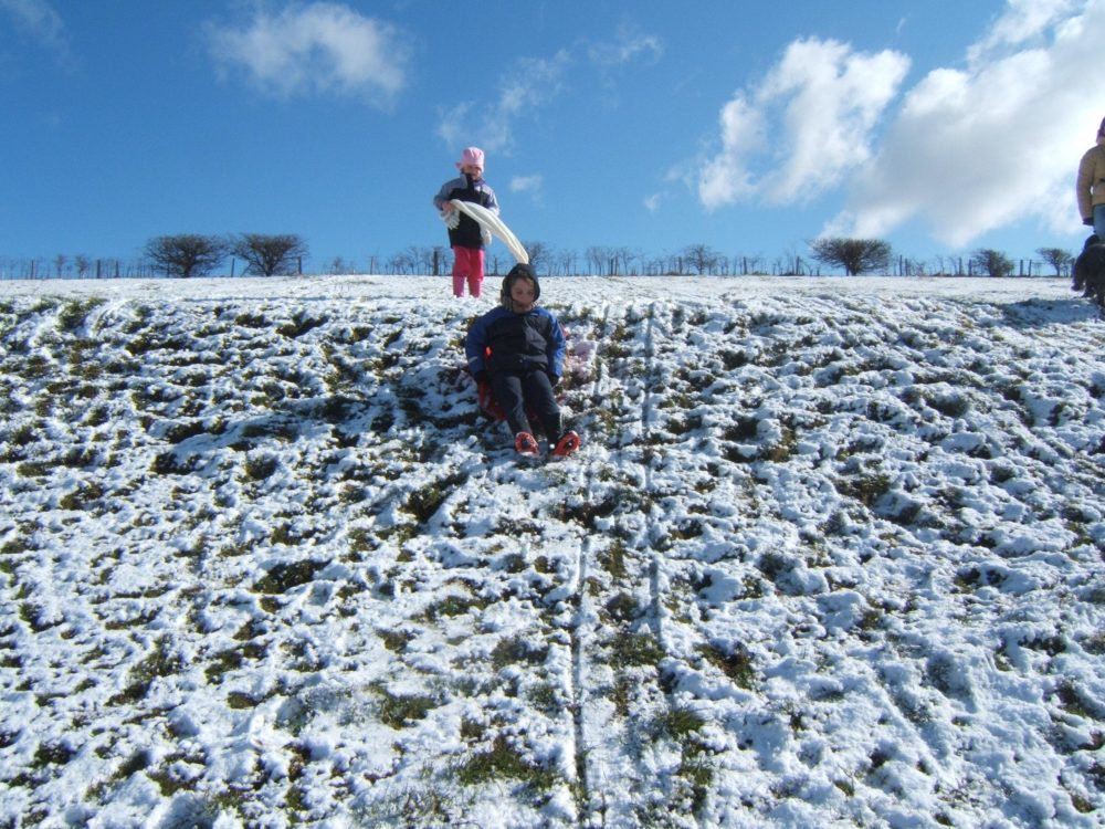 Sledging in the snow!